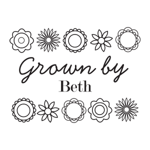 Grown by ... with Flowers Border Stamp - stamptastic-uk