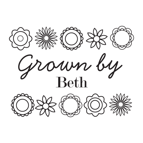 Grown by ... with Flowers Border Stamp