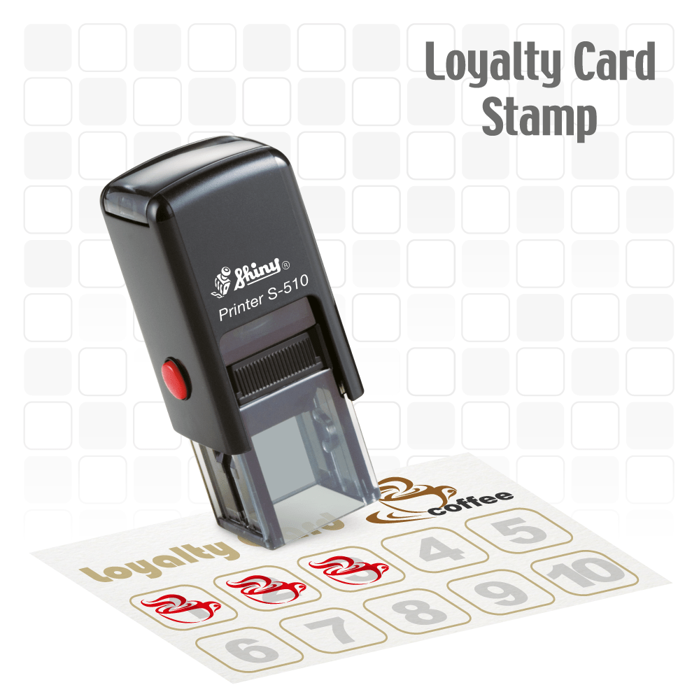 Coffee bean Loyalty Card Self-inking Rubber Stamp (outline coffee bean) - stamptastic-uk