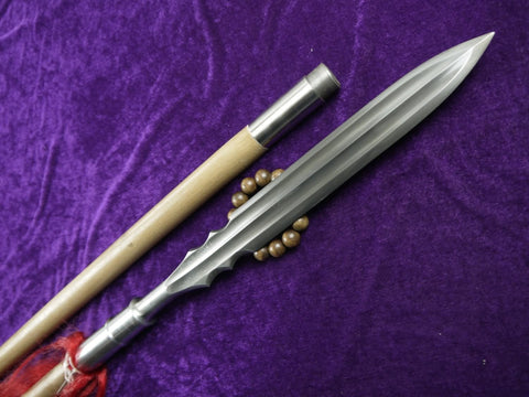 Spear,China lance,Damascus steel Spearhead,Hardwood rod,Length 78 inch