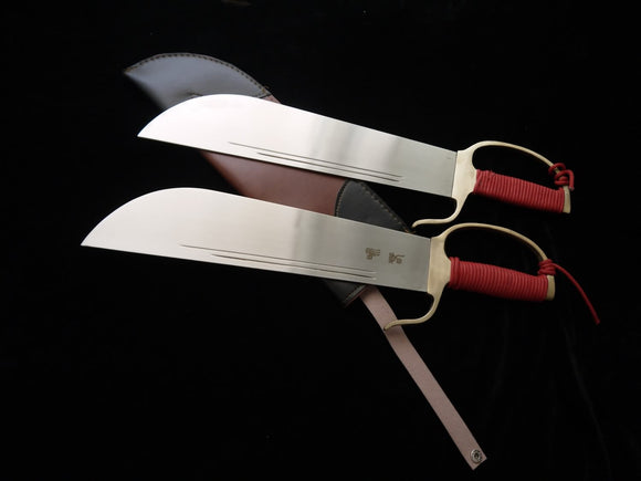 Wing Chun Bart Cham Dao,Stainless steel blade,Leather,Brass guard - Chinese sword shop