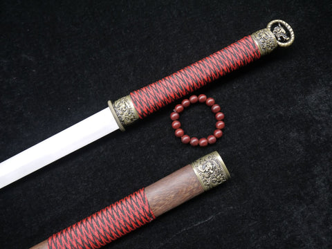 "Han jian(Damascus steel blade,Rosewood scabbard,Alloy fittings)Full tang,Length 39"" - Chinese sword shop"