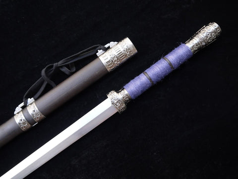 "Handmade knife(High Manganese Steel blade,Black wood scabbard,Alloy fitted)Length 39"" - Chinese sword shop"