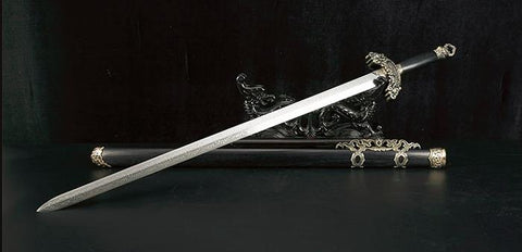 Blue Sword,Damascus steel blade,Alloy fittings&Handmade art - Chinese sword shop