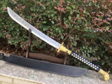 Hunting knife,High carbon steel blade,Leather scabbard,Alloy fitting,Length 34 inch - Chinese sword shop
