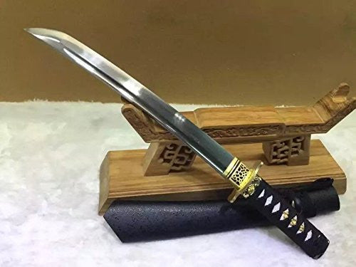 Wakizashi,Damascus steel,Wood Scabbard,Alloy tosogu - Chinese sword shop