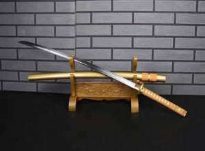 "Samurai sword/Katana uchigatana/High carbon steel blade/Golden yellow scabbard/Full tang/Length 39"" - Chinese sword shop"