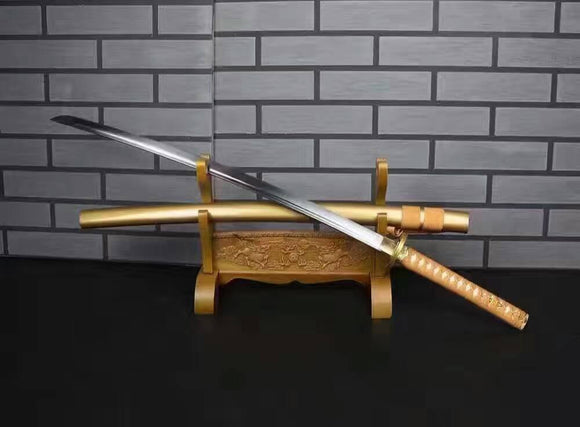 Samurai sword/Katana uchigatana/High carbon steel blade/Golden yellow scabbard/Full tang/Length 39