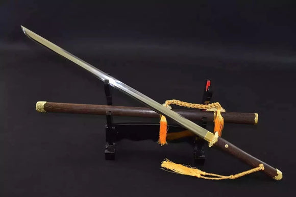 Tang dao/High manganese steel/Rosewood scabbard/Alloy fitted/Length 40