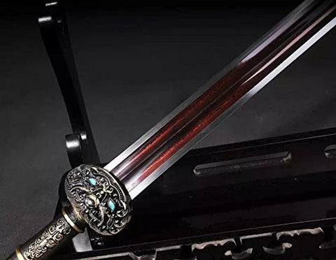 Chinese sword/Damascus steel redness blade/Black wood scabbard/Alloy handle/Length 35""
