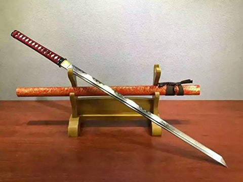 Ninja Sword Katana/T10 high-carbon steel blade/Wood scabbard/Alloy fitted/Length 39""