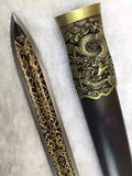 "Yuewang jian/High manganese steel blade/Black wood scabbard/Alloy handle/Length 32"" - Chinese sword shop"
