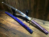 Japanese sword Katana/High carbon steel blade/Blue wood scabbard/Brass fittings - Chinese sword shop