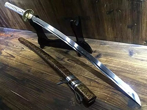 "Katana/T10 high carbon steel blade/Wood scabbard/Brass fitted/Length 39"" - Chinese sword shop"