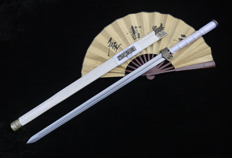 "Han jian/Medium carbon steel blade/White scabbard/Alloy fittings/Length 39"" - Chinese sword shop"