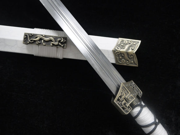 Han jian-Medium carbon steel-White leather paint scabbard - Chinese sword shop