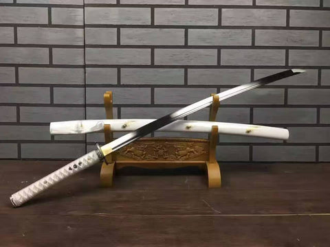Katana uchigatana/High carbon steel blade/White paint scabbard/Alloy - Chinese sword shop