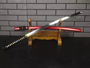 Katana uchigatana-High manganese steel blade-Red paint wood scabbard - Chinese sword shop