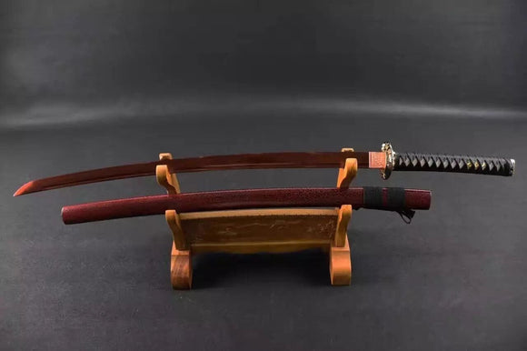 Samurai sword/Katana uchigatana/High manganese steel red blade/Wood scabbard/Full tang/Length 39