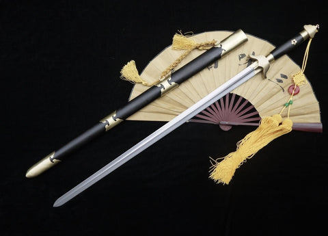 Chinese Tai Chi sword Pattern steel blade,Brass,Black wood