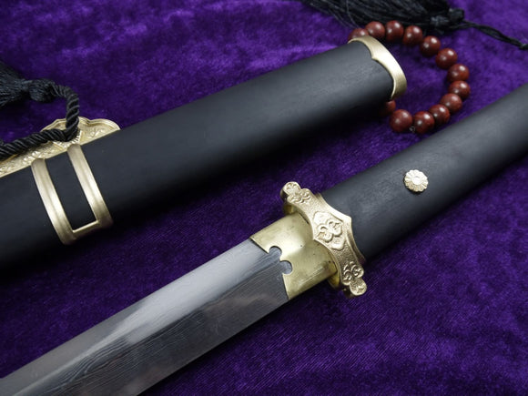 Tang jian/Damascus Steel blade/Black scabbard/Brass fittings/Full Tang - Chinese sword shop