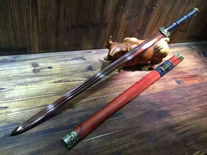 "Han jian/Damascus steel red blade/Red scabbard/Alloy fittings/Length 39"" - Chinese sword shop"