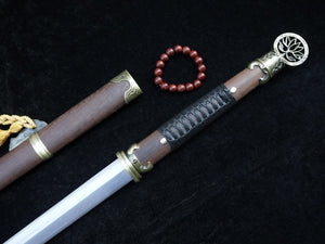 "Chinese sword/Pei Dong jian/Damascus steel blade/Rosewood scabbard/Length 41"" - Chinese sword shop"