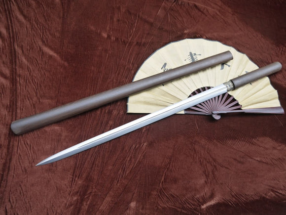 Simple sword/Damascus steel blade/Rosewood scabbard/Full tang - Chinese sword shop