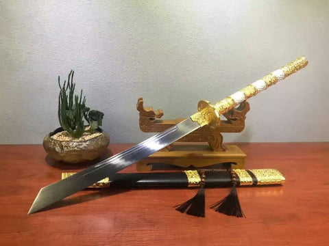 Kangxi collection sword,Damascus steel,Alloy,Black scabbard - Chinese sword shop