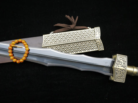 "Hua Mulan jian sword,Medium carbon steel black blade,Alloy fittings,Rosewood scabbard,Length 41"" - Chinese sword shop"