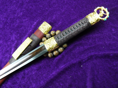 Dagger-Damascus steel Surface redness blade-Redwood scabbard-Alloy fitted