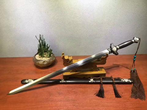 Peony sword-Damascus steel made Blade-Ebony Scabbard-Brass carved accessories
