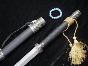 "Hidden Dragon sword(Damascus steel,Black wood scabbard,Alloy fitted)Length 39"" - Chinese sword shop"