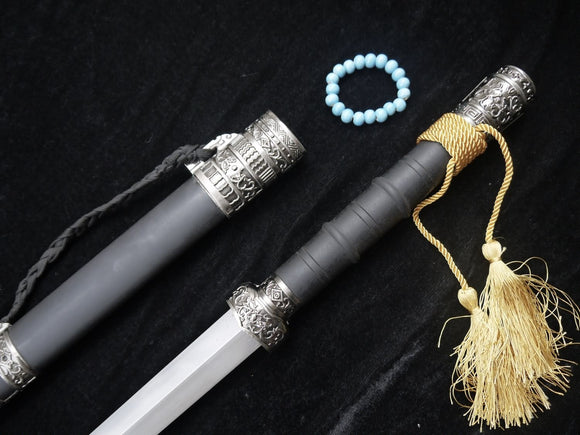 Hidden Dragon sword(Damascus steel,Black wood scabbard,Alloy fitted)Length 39