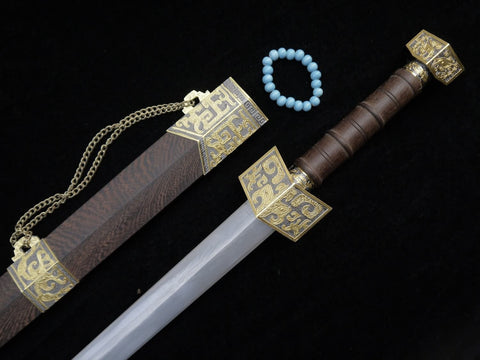 Zhanlu jian/Damascus steel blade/Rosewood scabbard/Alloy fitted/Length 39""