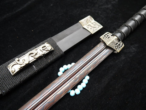 Han jian/Pattern-welded steel Black Blade/Handmade/Black Wood scabbard/Alloy fitting/Length 39""