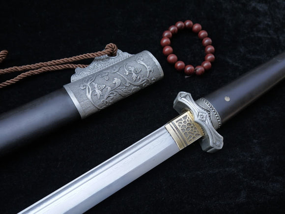 New Tang dao/Damascus steel blade/Alloy fittings/Black wood/Length 40