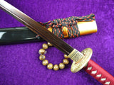 Niger Sabre/katana/Pattern steel Dark red blade/Wood paint scabbard/Copper fittings/Length 31""