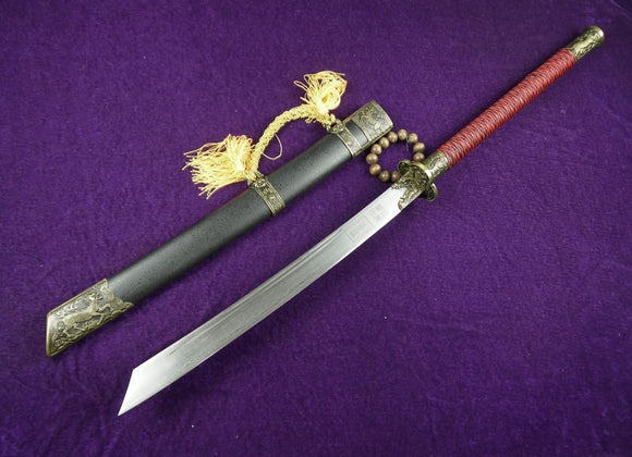Chinese sword/Kang xi jian/Damascus steel/Wood scabbard/China chop sabers - Chinese sword shop