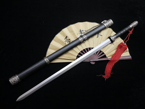 Longquan sword(High carbon steel blade,Black wood scabbard,Zinc-alloy fitted)Length 39""