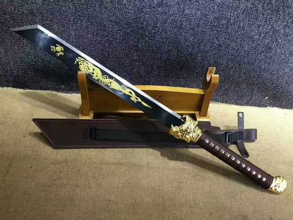 Dragon machete/Outdoor knife/Manganese steel/Brown leather scabbard - Chinese sword shop