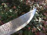 Hunting knife,High carbon steel blade,Leather scabbard,Alloy fitting,Length 34 inch