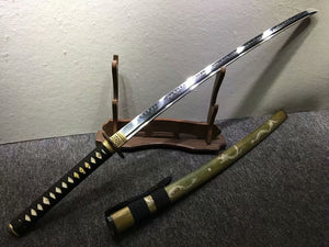 Nihontou katana,Handmade,High carbon steel burn blade,Brass,Full tang,A - Chinese sword shop