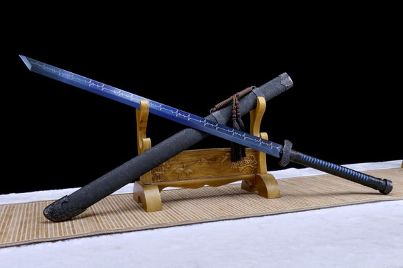 Black Gold Sword Real,High Carbon Steel Blue Blade,Chinese sword