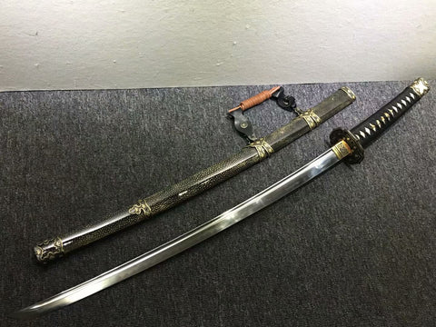 Tachi katana,Black skin scabbard,Damascus steel burn blade,Brass,Full tang - Chinese sword shop