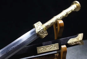 "Han sword(Damascus steel blade,Black scabbard,Brass fittings)Length 41"" - Chinese sword shop"
