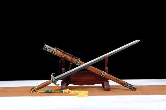 Bat sword,Damascus steel blade,Rosewood scabbard,Brass fittings - Chinese sword shop