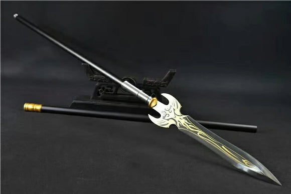 Eagle spear,High manganese steel Spearhead,Black rod - Chinese sword shop