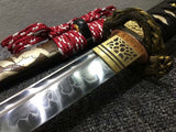 Katana,Hand forged,High carbon steel burn blade,Brass,Full tang,E - Chinese sword shop