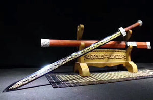 "Han jian(High carbon steel blue blade,Redwood scabbard,Alloy)Length 41"" - Chinese sword shop"